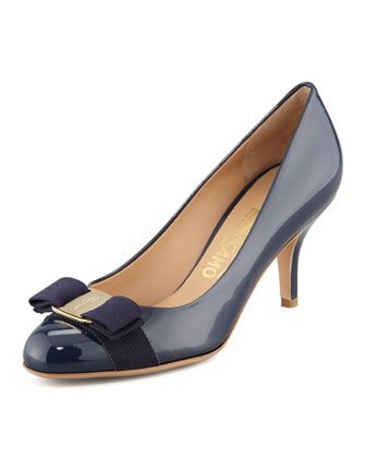 Carla Patent Bow Pump, Oxford Blue by Salvatore Ferragamo at Neiman Marcus.