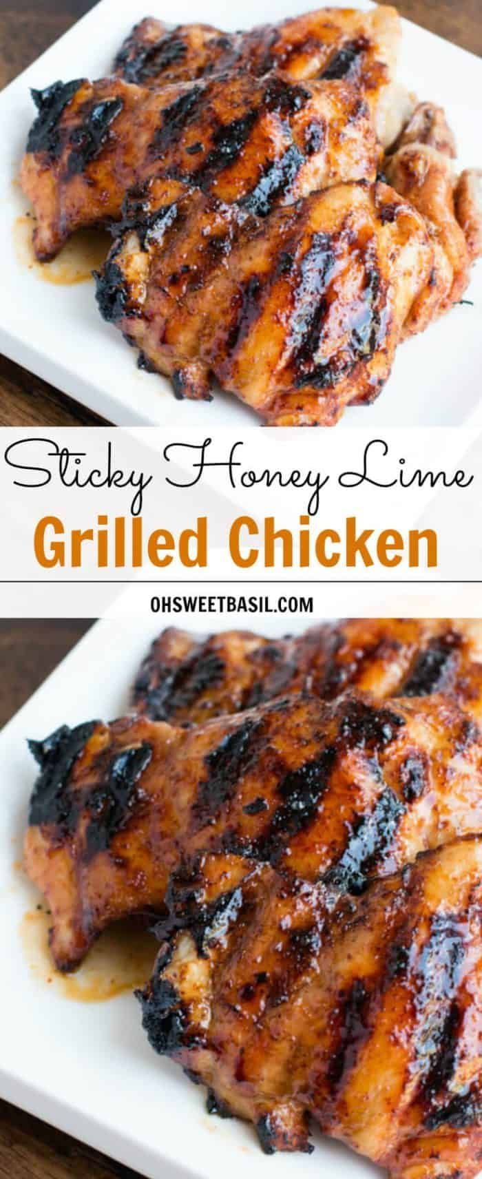 Sticky Honey Lime Grilled Chicken [+ Video] - Oh Sweet Basil