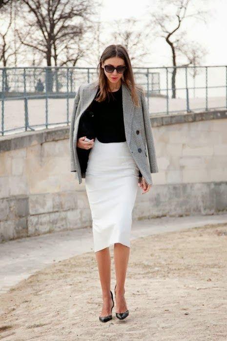 elegant jupe serr e blanche veste grise white skirt grey jacket tenues pinterest. Black Bedroom Furniture Sets. Home Design Ideas