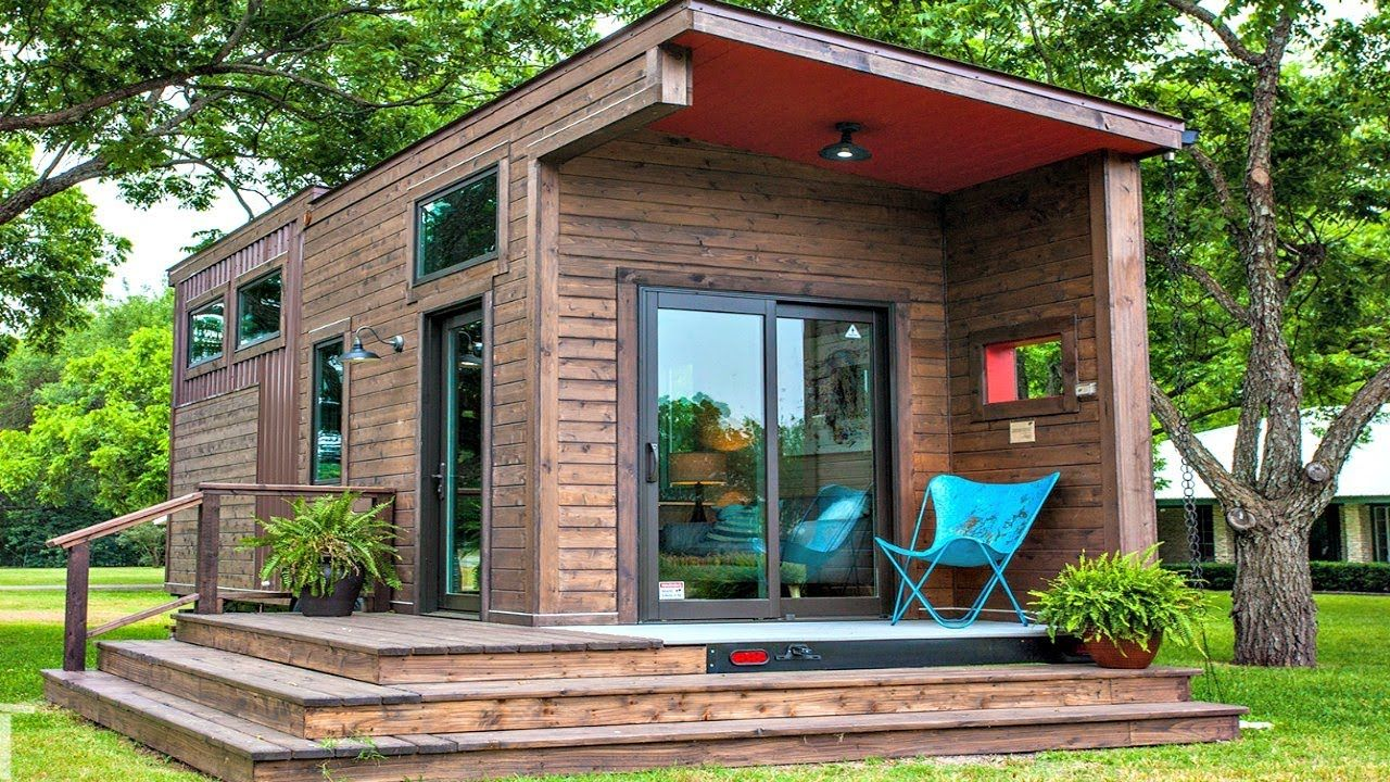 Gorgeous Rustic Modern Tiny House With Dark Stained Wood