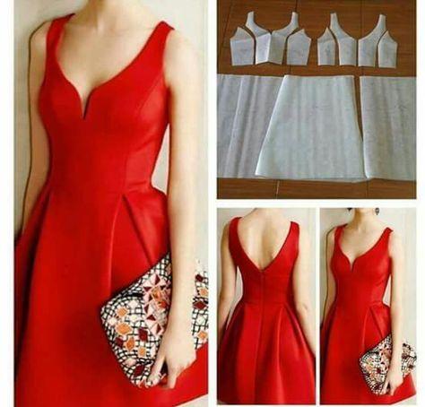 Modelagem Vestido Decote Amplo Com Saia Evase 552 529 Robe Sans Couture Patrons Couture Robe Modele Couture