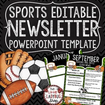 Sports Theme Classroom Decor Monthly Weekly Newsletter Template Editable Editable Newsletter Templates Newsletter Templates Weekly Newsletter Template