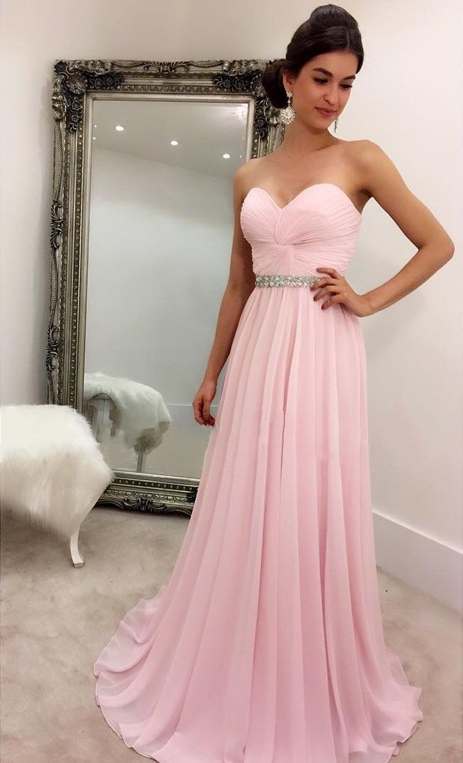 Pink Chiffon Prom Dresses Sweetheart Crystals Long Party | New ...