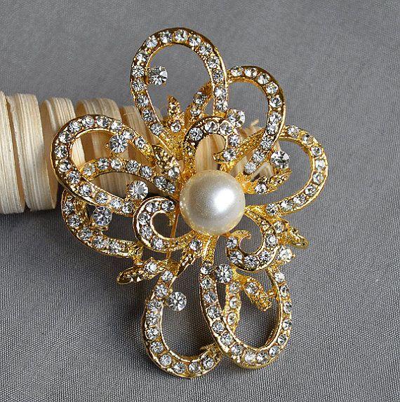 Rhinestone Brooch Pearl Crystal Brooch Bridal Brooch Bouquet Hair Comb Shoe Clip Wedding Cake Invitation DIY Supply BR009
