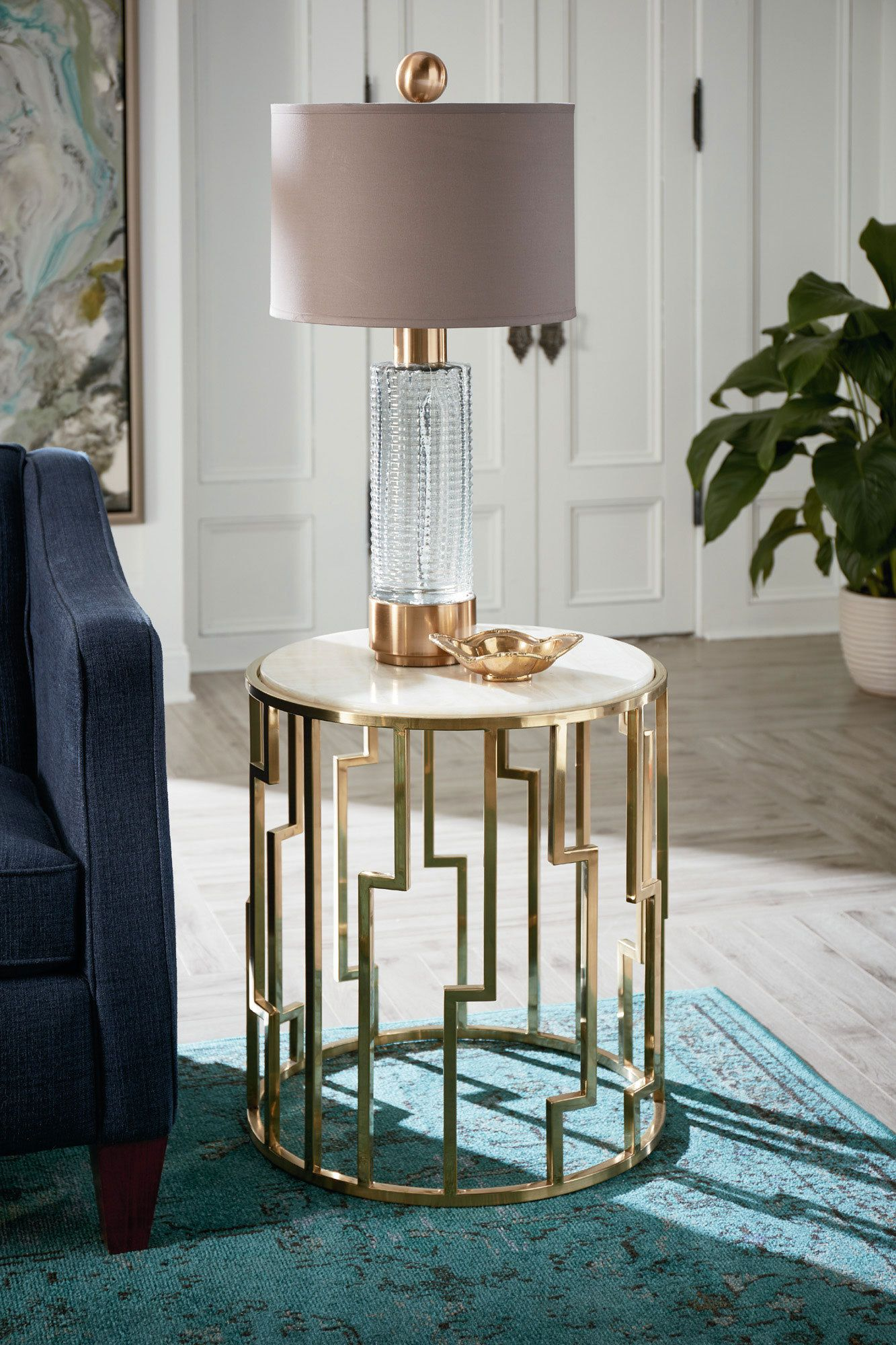 Hidden Treasures Geometric End Table In Brass | Hammary Furniture | Home  Gallery Stores