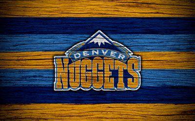 4k, Denver Nuggets, NBA, wooden texture, basketball, Western Conference, USA, emblem, basketball club, Denver Nuggets logo