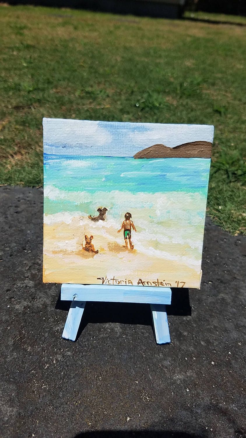 Original Painting of Boy with dogs at Lanikai Beach by VictoriartTreasures on Etsy