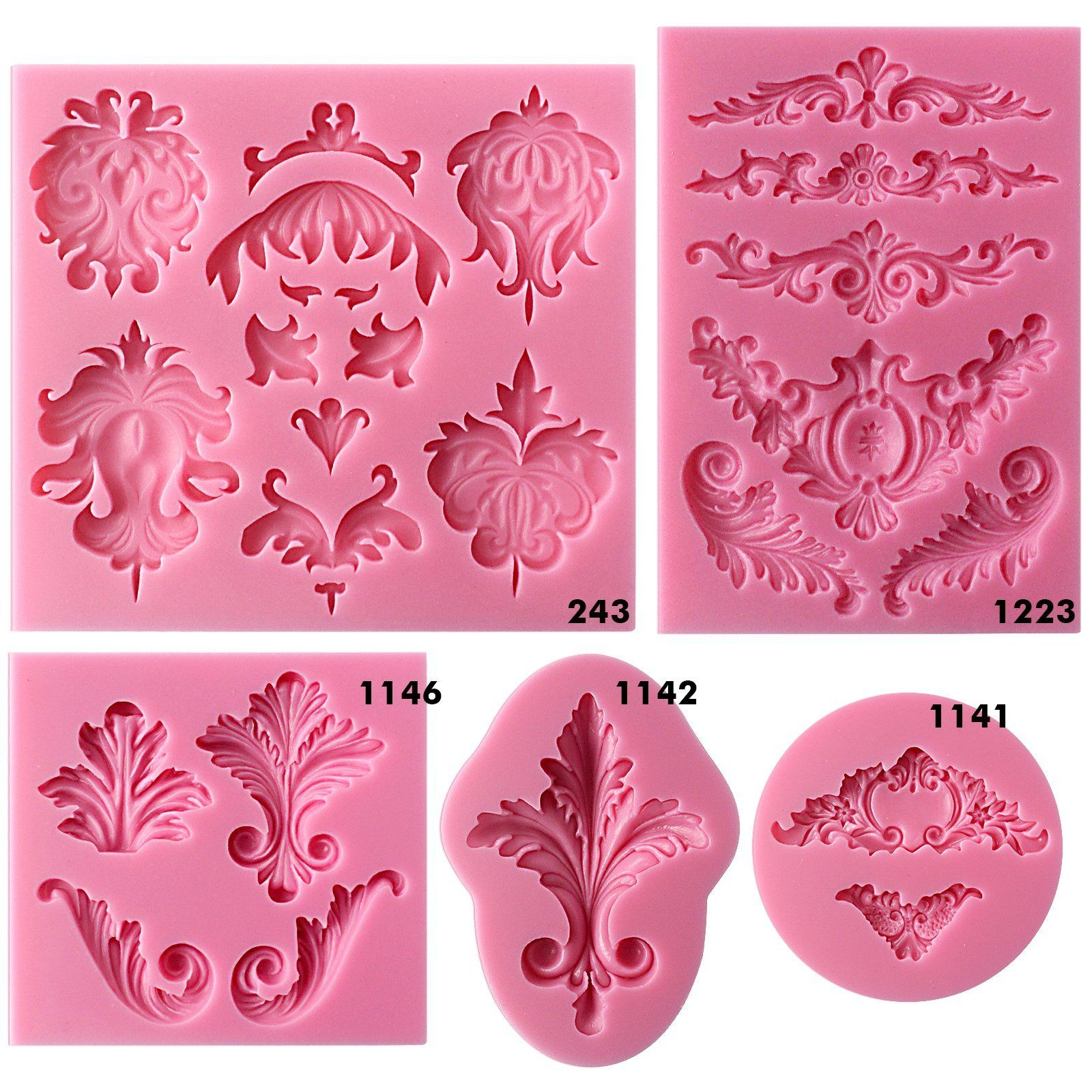Baroque Scroll And Lace Silicone Molds 5 Count Plaster Crafts Silicone Molds Crafts