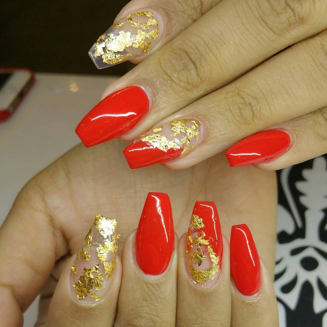 Suzy D On Instagram Fire Red With Gold Flakes Pheauxtogenic Gold Lanails Beverlyhills Nail Nailpolis Red And Gold Nails Gold Nail Designs Gold Nails