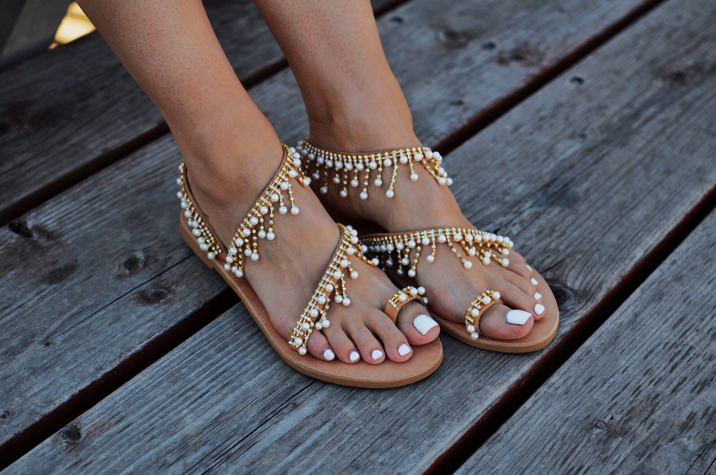 f4e3ba1bc Shoes - 2018 Fashion Summer Pearl Leather Handmade Chic Sandals in 2019