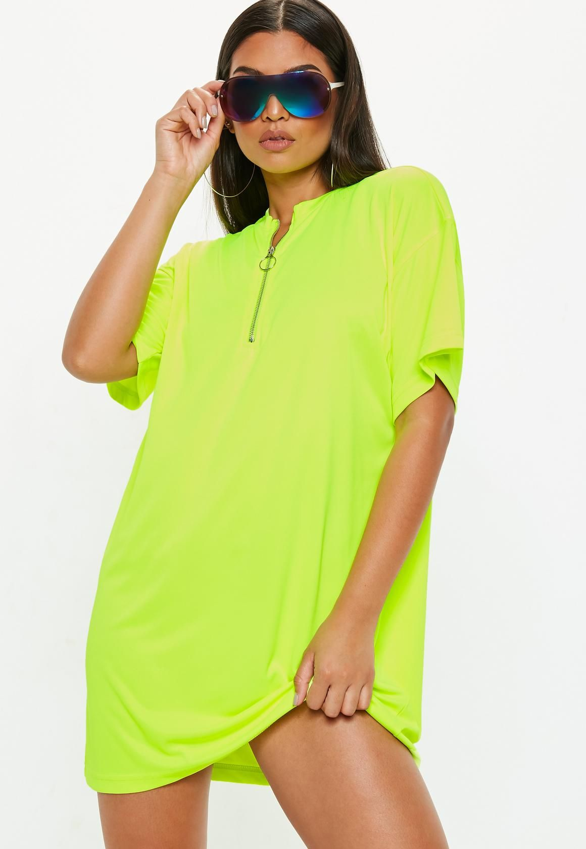 c2c8d26213 Missguided - Neon Yellow Oversized Zip Front T-Shirt Dress   wow in ...