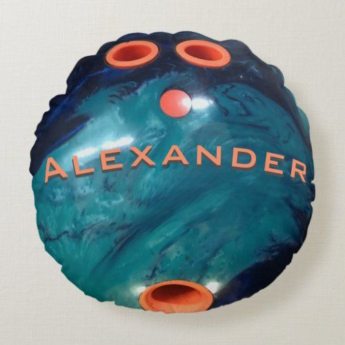 Custom Blue Marble And Orange Bowling Ball Round Pillow Zazzle Com In 2020 Round Pillow Bowling Ball Blue Marble