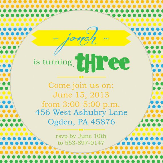 Colorful Polka Dot Birthday Party Invitation by susieandme on Etsy, $10.00