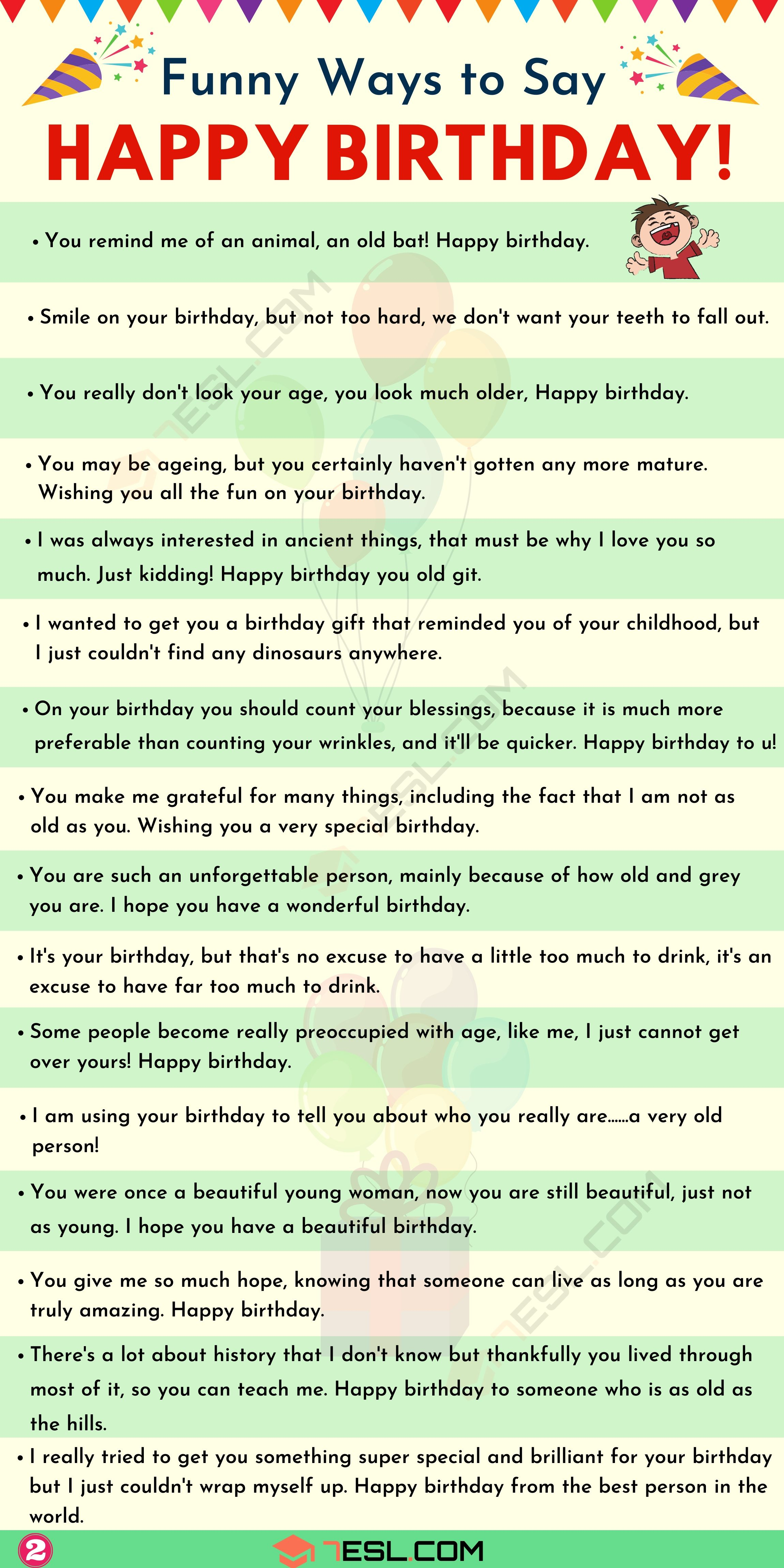 Funny Birthday Wishes 30 Funny Happy Birthday Messages For Friends And Loved Ones 7esl Happy Birthday Quotes For Friends Birthday Quotes For Best Friend Happy Birthday Best Friend Quotes