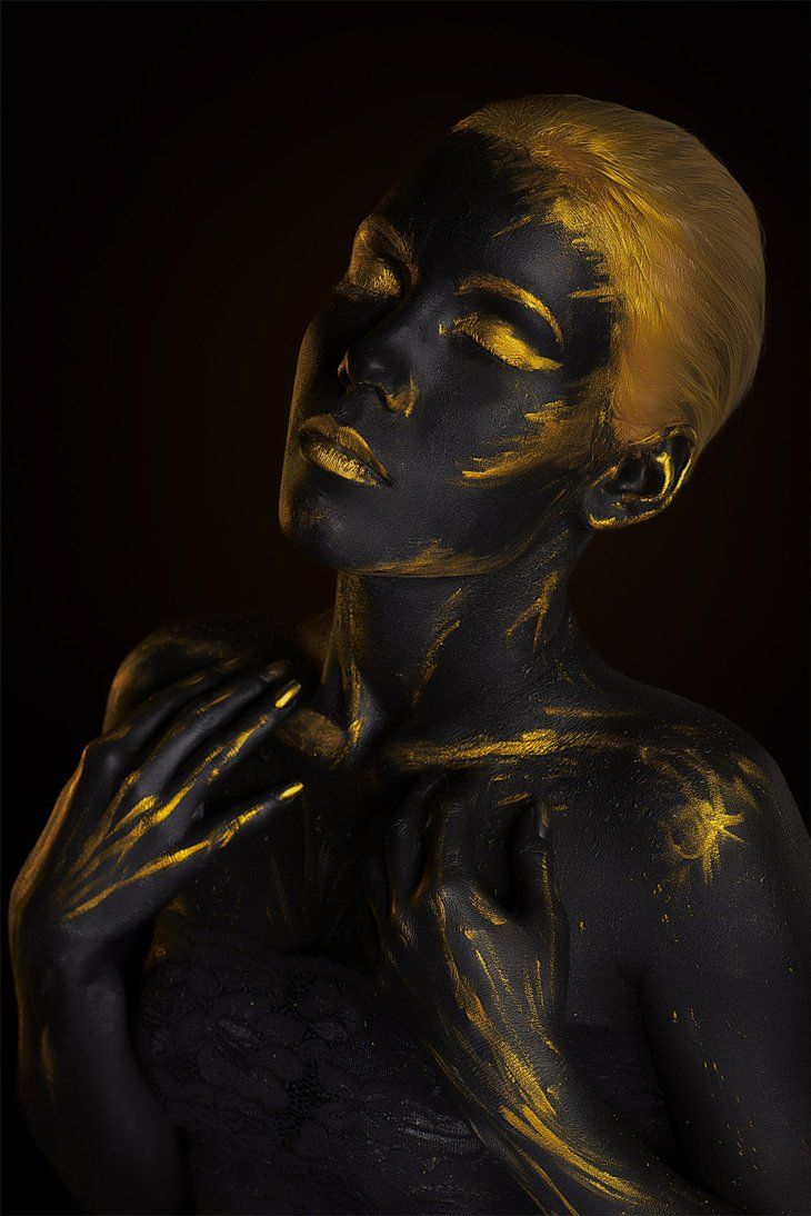 Gold body painting art photography by afemera
