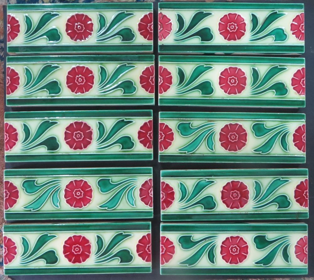 Antique art deco ceramic glazed tile boarder panel 6x2 signed antique art deco ceramic glazed tile boarder panel 6x2 signed d k japan qty dailygadgetfo Image collections