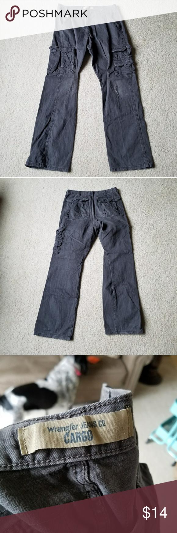 Men's grey flannel trousers  Menus x Wrangler Grey Cargo Pants  Cargo pants Gray and