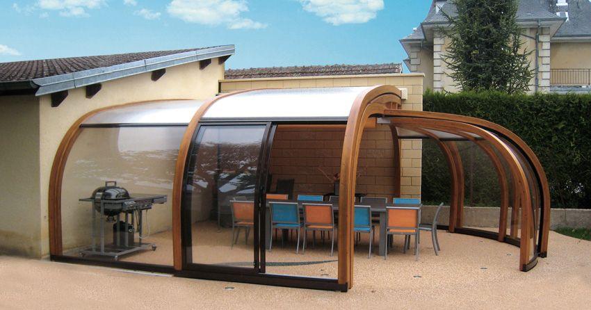 Copertura curva addossata per terrazze (in legno) | garden ...