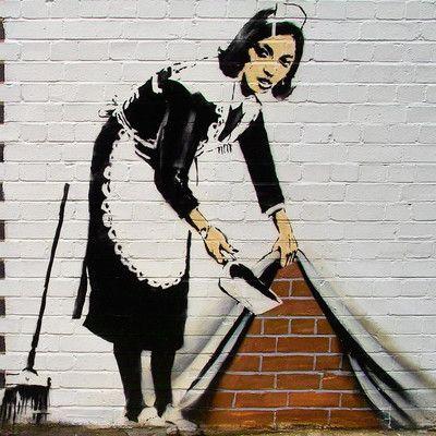 "JaxsonRea ""Maid"" by Banksy Graphic Art on Wrapped Canvas Size: 18"" H x 18"" W x 1.5"" D"