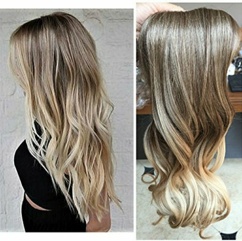 Ombre Blonde One Piece Clip In Extension Wavy Products