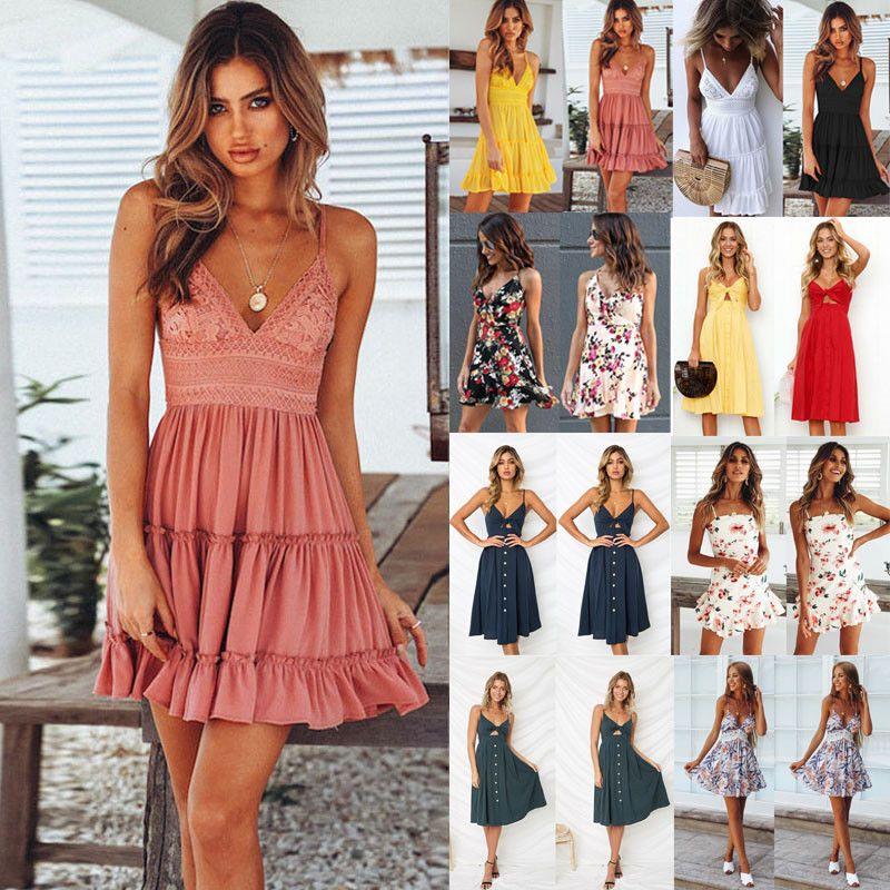 Summer Cocktail Short Women Dresses Maxi Party Evening Sundress Dress Beach