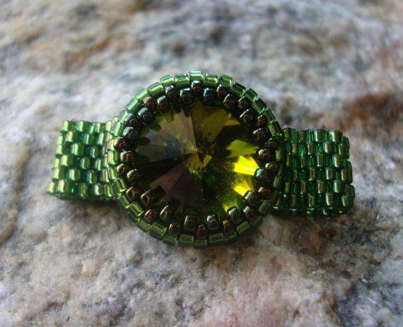 Rita Rivoli Green Swarovski Bezeled Beadwoven Ring by PaHaRa, $28.00