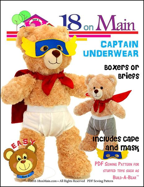 Captain Underwear Pattern for Build-A-Bear Dolls | Pinterest