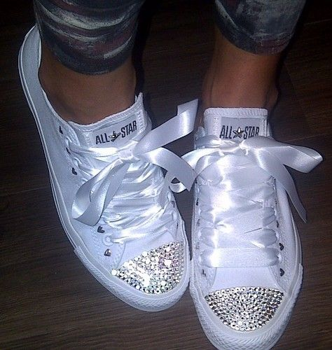 17696fbffde6 White sparkly converse shoes... Cover up the
