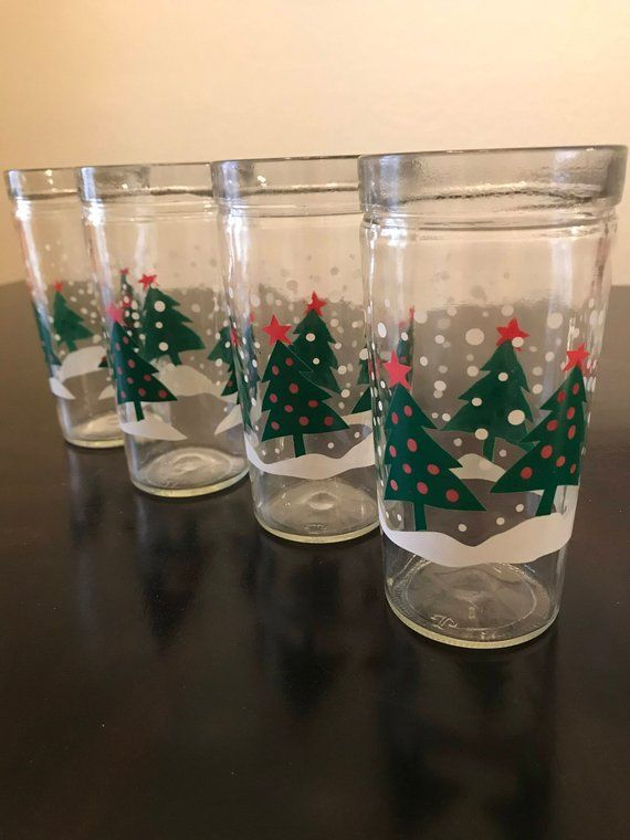 Vintage Christmas Tree Glasses/Anchor Hocking Christmas Tree Jelly Jar  Glasses/Vintage Christmas Gla - Vintage Christmas Tree Glasses/Anchor Hocking Christmas Tree Jelly