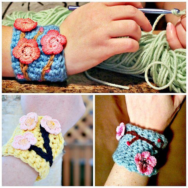 Charming Cherry Blossom Wrist Cuff Pattern By Lisa Jelle Cherry