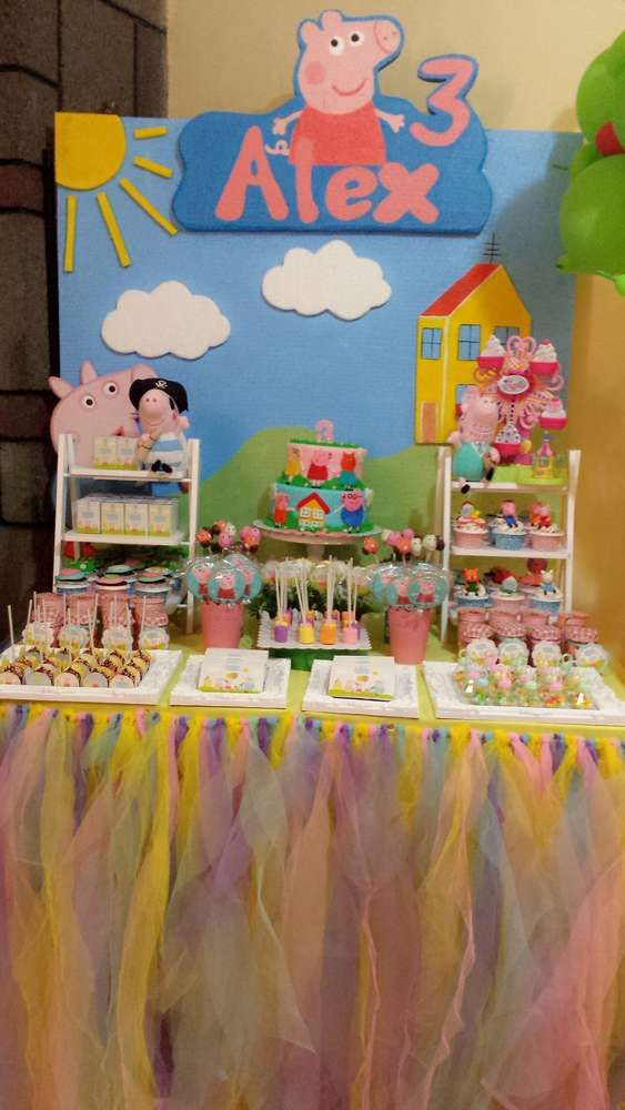 Dessert Table At A Peppa Pig Birthday Party See More Party Ideas At