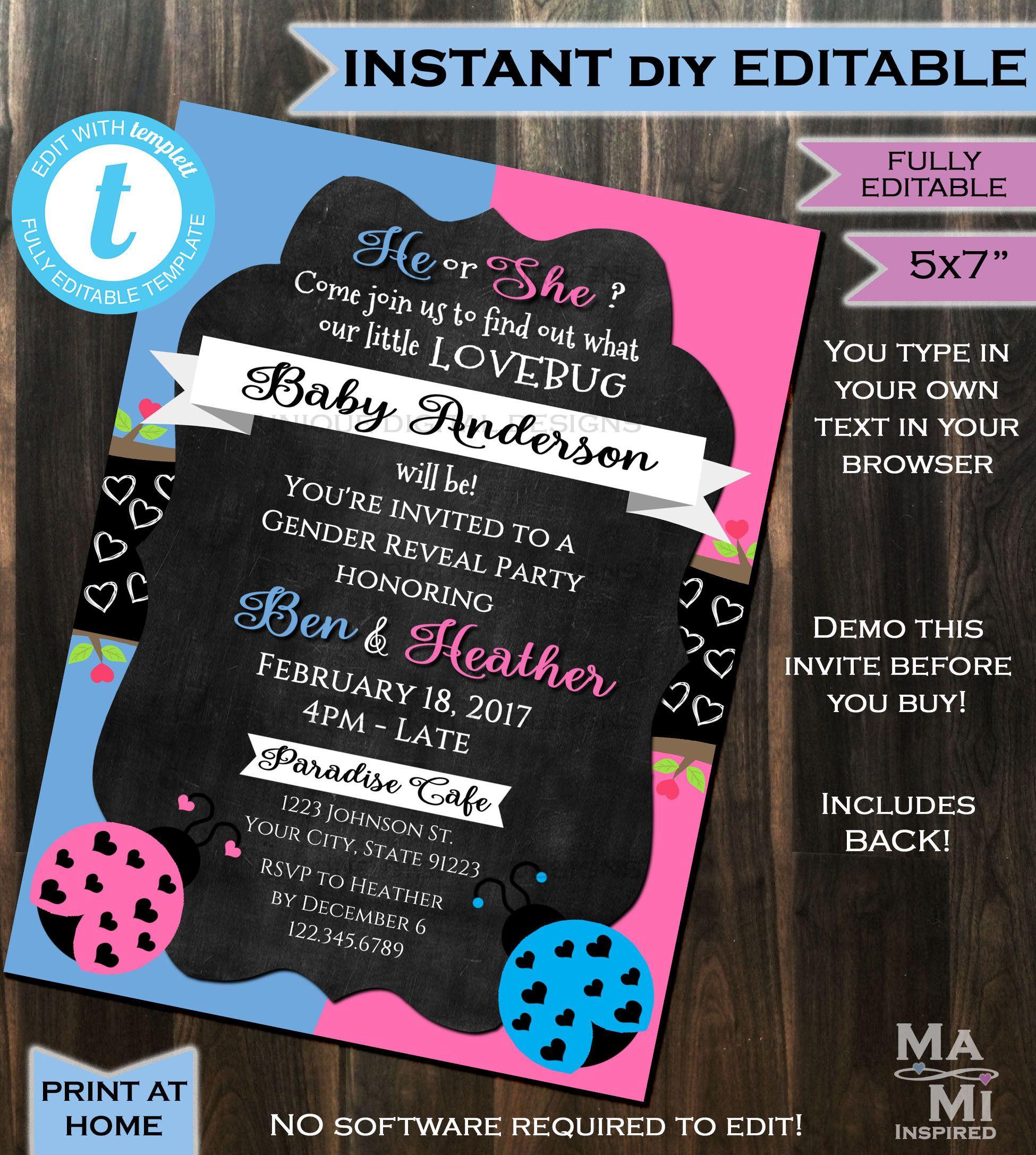 Lovebug Gender Reveal Invitation Baby Shower Invite Boy or Girl