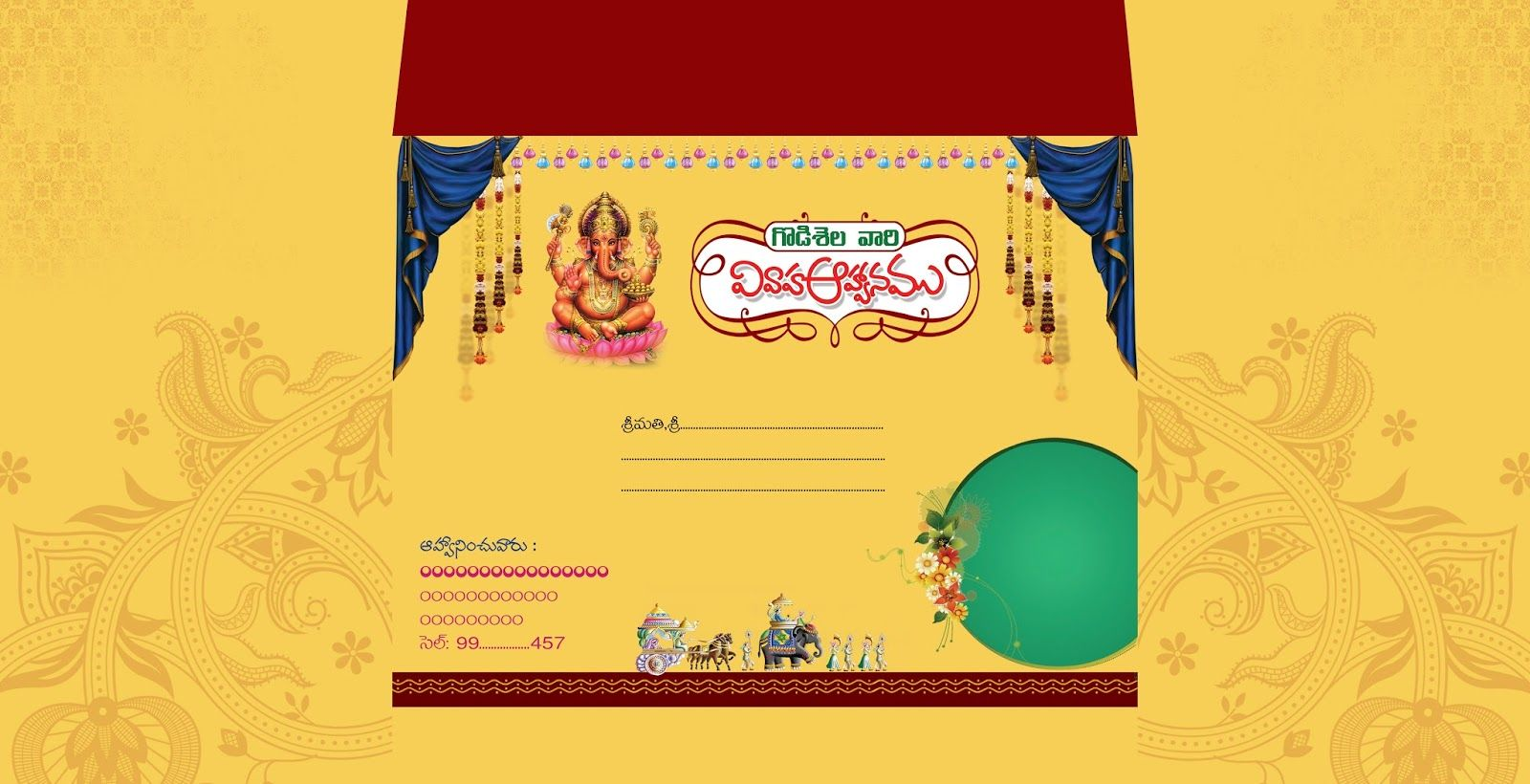 indian wedding invitation card cover psd template free