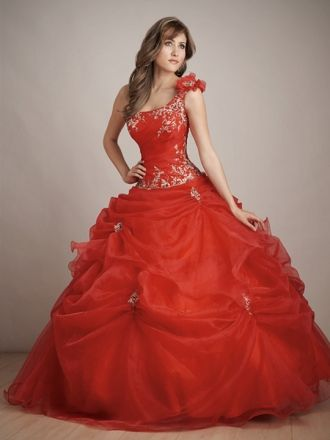 Ball Gown One Shoulder Organza Floor-length Pick-Ups Quinceanera Dresses