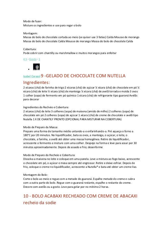 Modo de fazer: Misture os ingredientes e use para regar o bolo Montagem: Massa do bolo de chocolate cortada ao meio (se qu...