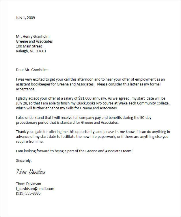 Job Offer Acceptance Letter - write a formal job acceptance letter ...
