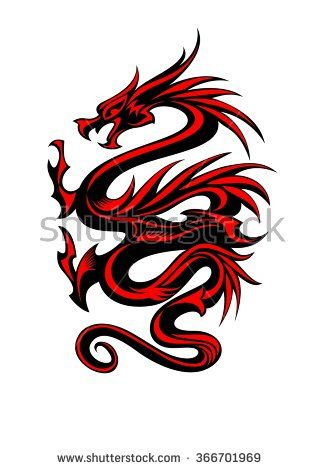 Black And Red Tribal Dragon Tattoo Vector Illustration Dragon Tattoo Vector Tribal Dragon Tattoos Tribal Dragon Tattoo