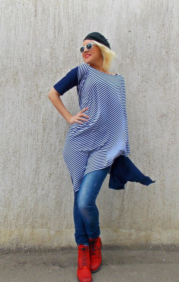 Navy Striped Tunic / Asymmetric Navy Tunic / Navy Striped by Teyxo