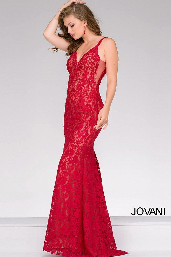 official store so cheap classic style Red Lace Fitted Jovani Dress 48994 | Dresses, Prom dresses ...