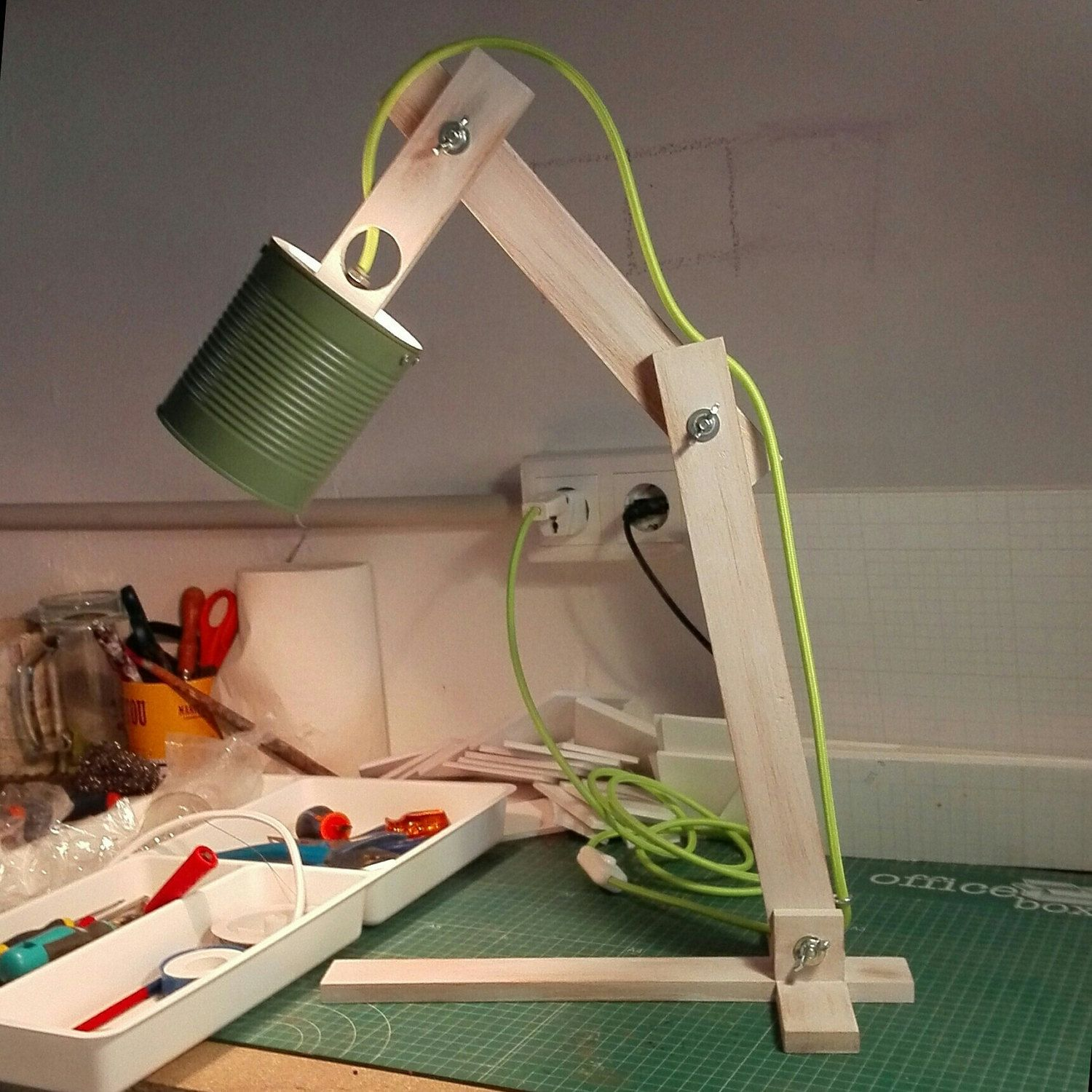Custom Recycled can wood desk lamp, green textile cable and wood painted white worn