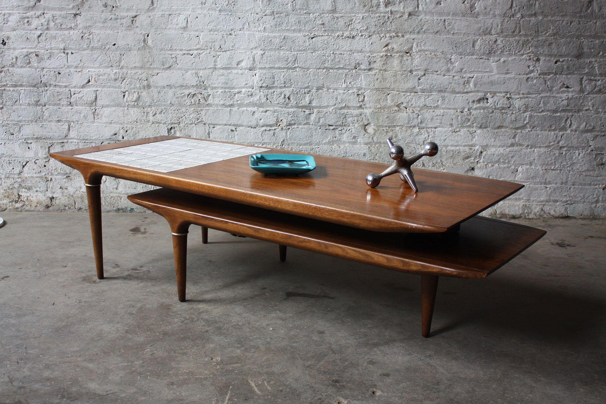 Rare Lane Swivel Pivot Boomerang MCM Walnut Coffee Table U S A