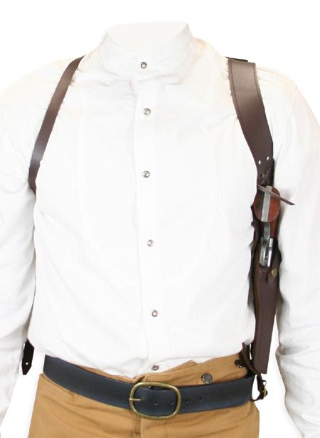 (.44/.45 cal) Shoulder Holster - RH Draw - Brown Leather