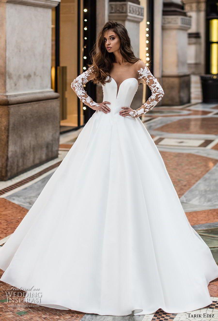 Tarik Ediz 2019 Wedding Dresses White Bridal Collection Wedding Inspirasi Wedding Dress Long Sleeve Wedding Dresses Ball Gown Wedding Dress [ 1326 x 900 Pixel ]