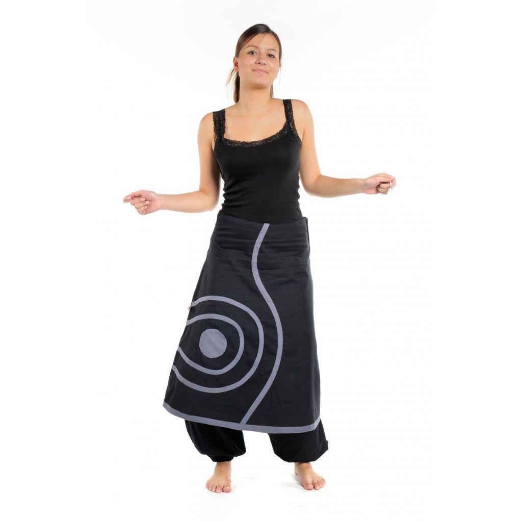 Sarouel femme coton epais noir gris Naya - FantaZia-Shop