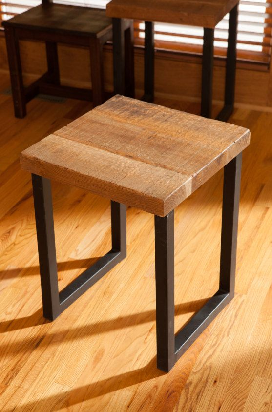 Reclaimed Oak Wood End Table Entry Way Table End Table