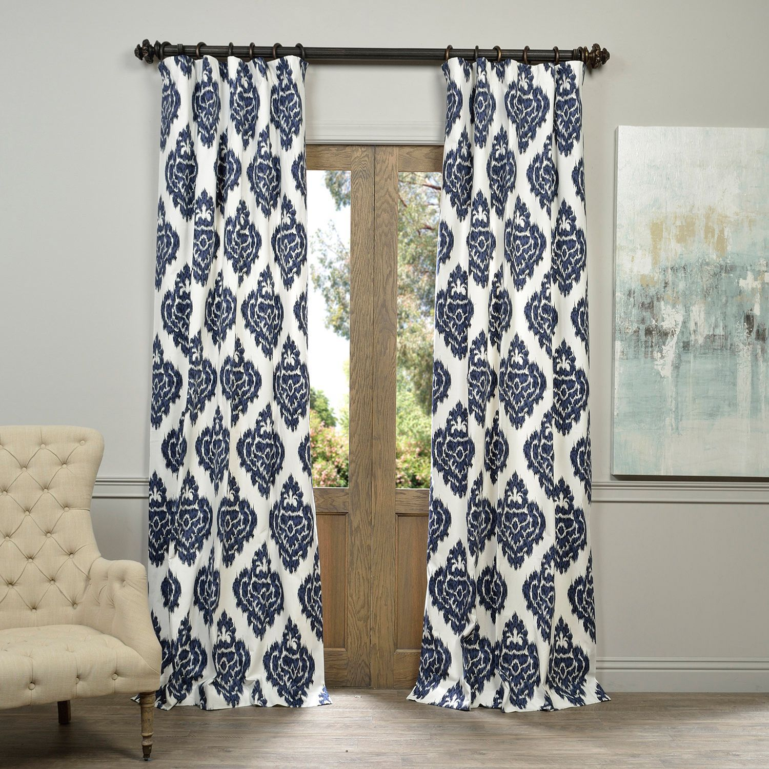Navy blue patterned curtains - Exclusive Fabrics Ikat Blue Printed Cotton Curtain Panel By Exclusive Fabrics