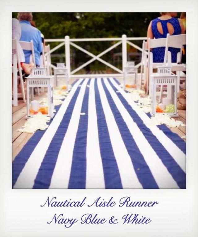 Nautical Aisle Runner 100 Cotton Fabric Lined To Prevent Any Slippage The
