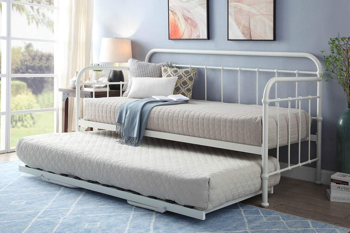Harlow Hospital Style White Metal Day Bed With Guest Trundle
