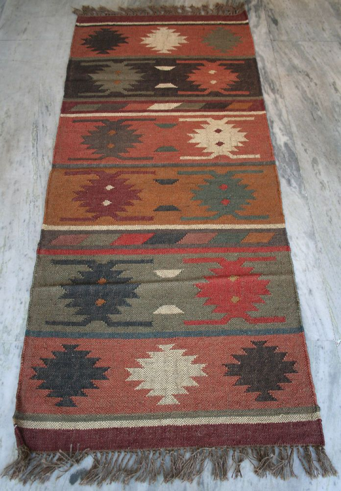Vintage Turkish Rug Runner 2 5x6 Feet Carpet Kilim Wool Jute