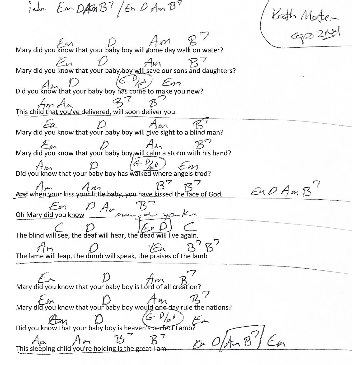 Mary Did You Know (Christmas) Em Minor - Guitar Chord Chart with Lyrics - http://www.youtube.com/munsonmusiclive